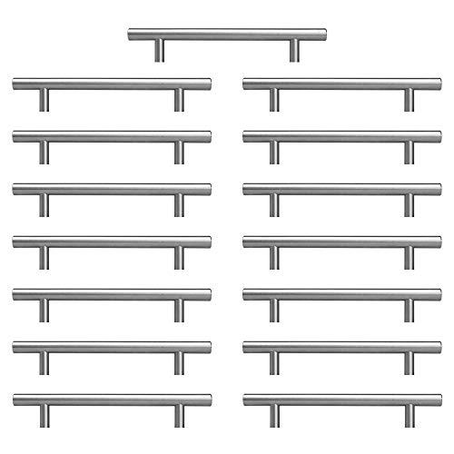 Sturdyy Maniglie da cucina Maniglie per armadi 15 pezzi Installazione fori in acciaio inossidabile da 128 mm Installazione fori in argento
