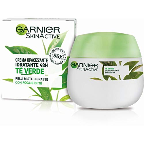 Garnier Crema Viso Idratante Opacizzante SkinActive, Ottima per Pelli Miste o Grasse, Arricchita con The Verde, 50 ml, Confezione da 1