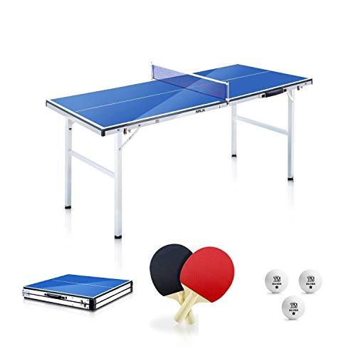 YM Tavolo Ping Pong Pieghevole Mini Ninja Richiudibile in Valigetta, Portatile e Compatto, Telaio in Acciaio con Tubolari da 25mm. Incluse Racchette e Palline. Dimensioni Aperto: cm 150 x 67 x 69
