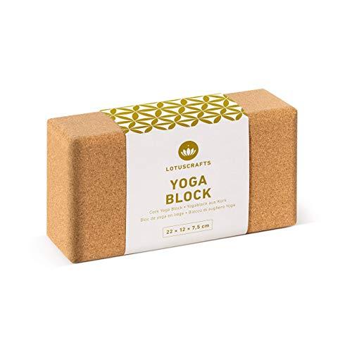 Lotuscrafts Mattoncini Yoga Supra Grip in Sughero - Prodotto Ecologico - Sughero Naturale al 100% Proveniente dal Portogallo - Blocco Yoga Sughero - Blocchi Yoga - Mattoni Yoga - Yoga Block (Standard (23 × 14 × 9 cm))