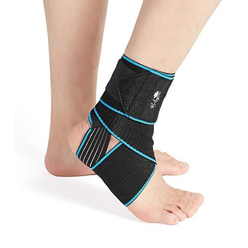 Tutore per caviglia a compressione regolabile, ideale come protezione durante lo sport, taglia unica, unisex