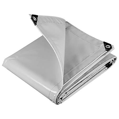 WOLTU GZ1208m01 Telone Occhiellato Impermeabile Telo di Protezione Pesante Antipioggia Copertura da Esterno PVC 500 g/m² 2x3 m Grigio Chiaro
