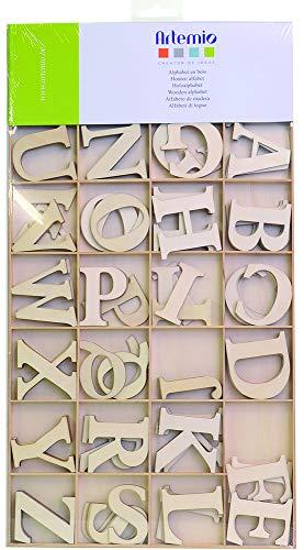 Artemio, Set di lettere dell'alfabeto, in legno, 6 cm, 130 pz, Beige