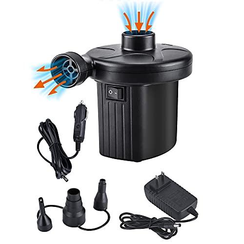 Oziral Pompa Elettrica 2 in 1 Gonfiando Sgonfiando, Pompa per Materasso Gonfiabile DC12V/AC220V Pompa Gonfiabile con 3 Ugelli Gonfiatore Elettrico Materassini per Anello Nuotata
