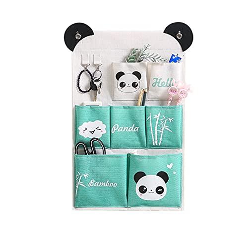 Digead Portaoggetti Appesa, 7 Tasche Sacche Portaoggetti a Parete, Tasche Portaoggetti da Parete per Cucina, Bagno e Ufficio-Panda
