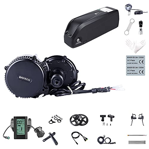 Bafang Kit Bici elettrica Motore Centrale BBS02B 48V 750W Kit di conversione Kit componenti Accessori Display o Kit con Batteria Hailong 48V 11.6/17.5/18 Ah/Portapacchi 15/17.5Ah