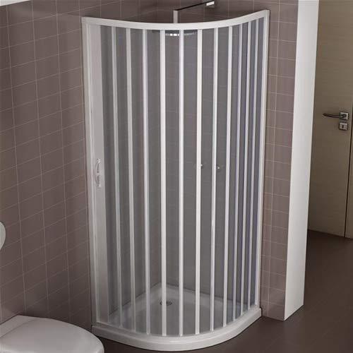 Box doccia riducibile in PVC 80x80 cm modello Roxana semicircolare pannelli semitrasparenti con apertura a soffietto laterale