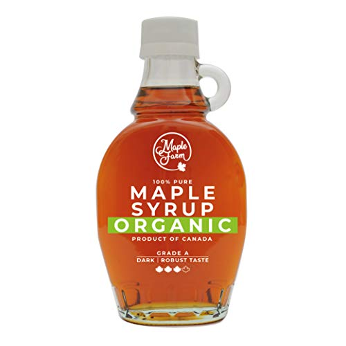 MapleFarm - Puro sciroppo d'acero Canadese BIO Grado A (Dark, Robust taste) - 189 ml (250 g) - Original maple syrup - Puro succo d'acero BIOLOGICO…
