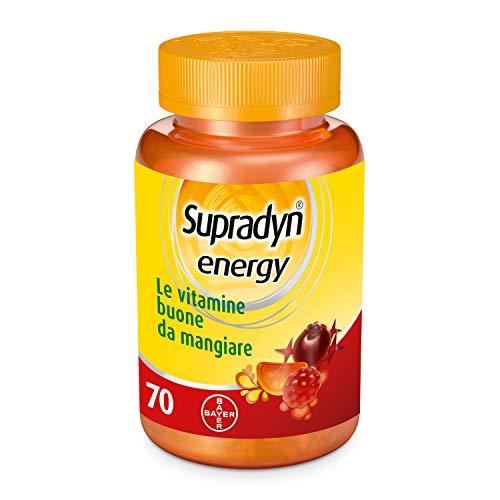 Supradyn Energy Integratore Multivitaminico Alimentare Completo, con Vitamine A, B, C, D, E e Coenzima Q10 contro la Stanchezza, 70 Caramelle Gommose, Gusto Ciliegia, Lampone e Arancia