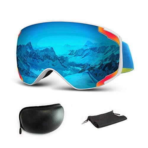 Extra Mile Maschere da Sci, 2019 Nuova Lente da Cucire Bicolore Protezione antiappannamento e UV400 - Occhiali da Snowboard per Uomo, Donna (Blu (VLT 13%))