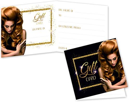 Buoni Regalo Parrucchiera (da 50 a 250 pezzi) Buoni Omaggio Biglietti Pieghevoli Parrucchiere Gift Card Coiffeur Coupon Salone Voucher Cartoncino da Compilare per Sconto Offerta ai Clienti (100)