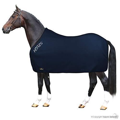 Horses, Coperta per Cavallo in Pile, Modello Basic, Morbida e Comoda, ideale per Trasporto e Dopo Lavoro, Taglia da XS-120cm a XXL-162cm, disponibile in diversi Colori (Blu- 145 cm)