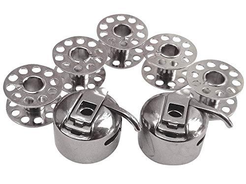 2 capsule per bobina + 5 bobine in metallo per macchina da cucire Singer 6160 Brilliance/Singer 6180 Brilliance/Singer 6199 Brilliance