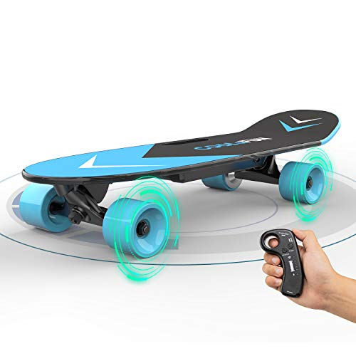 SOUTHERN WOLF Skateboard Elettrico con Longboard telecomandato per Bambini e Adulti, Motore da 150 W a Due velocità, e-Skateboard Portatile Skateboard Regali per Bambini (Blue)