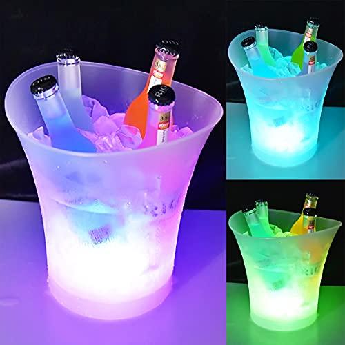Secchiello Ghiaccio LED da 5L, Secchiello Ghiaccio Vino LED, Secchiello per Il Ghiaccio con Cambio di Colore Multiplo, Adatto a Tema Festival/Festa/Casa/Bar/Ristorante