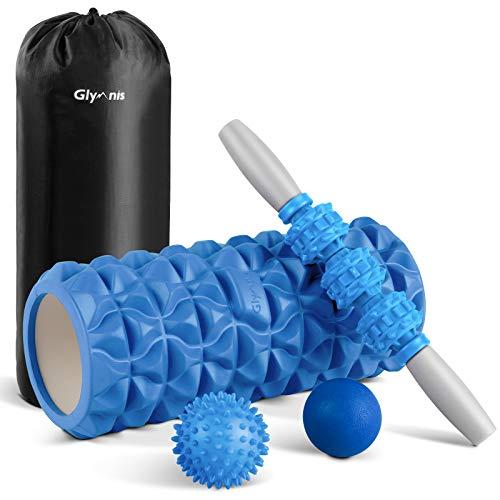 Glymnis Foam Roller Kit 4 in 1, Includono 1 x Rullo in Schiuma 1 x Bastone Massaggio e 2 x Pallina Massaggio per Recupero Muscolare dei Tessuti Profondi, Rilascio Miofasciale, Yoga