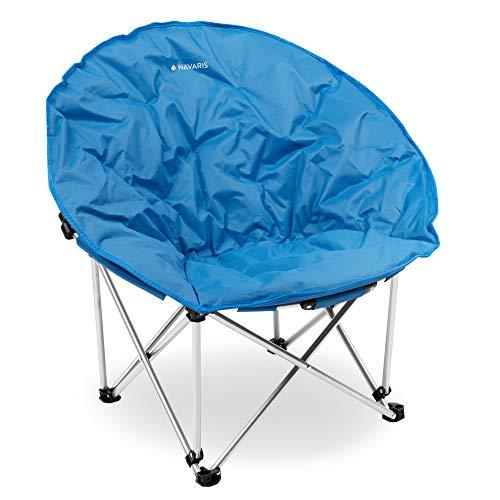 Navaris Sedia Pieghevole XXL Moon Chair - Extra Large Max. 150kg Tonda Imbottita - con Borsa da Trasporto Portatile per Campeggio Pesca Escursioni