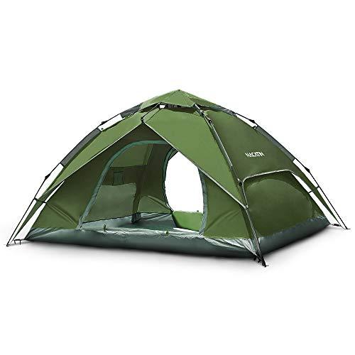 NACATIN - Tenda istantanea, Pop Up, a cupola tenda impermeabile, automatica, apertura per 3/4 persone, tenda in poliuretano, 3000 mm, per escursionismo, familiare e campeggio, spiaggia, colore: verde
