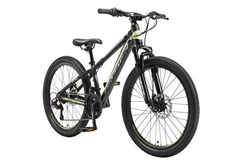 BIKESTAR MTB Mountain Bike 24' Alluminio per Bambini 10-13 Anni   Bicicletta Telaio 12.5 Pollici 21 velocità Shimano, Hardtail, Freni a Disco, sospensioni   Nero