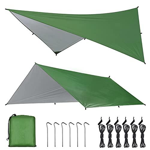 OTraki Tenda Parasole da Campeggio 3m x 4m Tendalino Camper Impermeabile Pieghevole Riparo per Amaca, Telo Trap per Viaggio, Spiaggia, Nave, Picnic