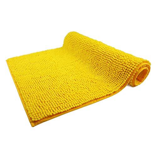 WohnDirect Premium Tappetino da Bagno Giallo • Tappetino da Bagno Morbido e Antiscivolo • Microfibra Durevole e Assorbente, Lavabile in Lavatrice • 50x80cm