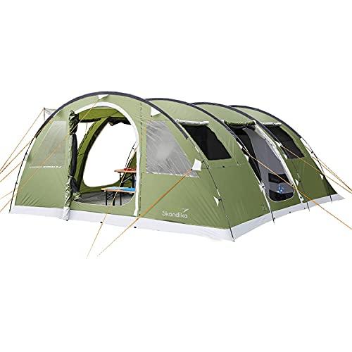 Skandika Gotland 6 - tende campeggio familiare - zanzariera - 540 x 450 cm - Telo sotto tenda cucito - Colonna d`acqua 5000mm (verde Sleeper)