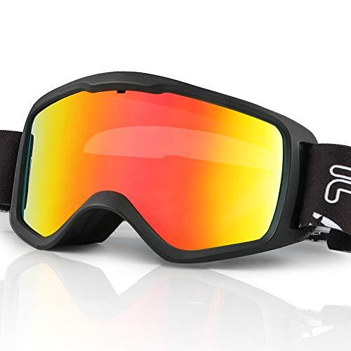 JTENG Maschere da Sci, Occhiali da Sci Per Doppia Lente OTG UV400 Maschera da Sci Antiappannamento Per Lo Sci e L'alpinismo