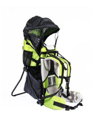 FA Sports, zaino porta bimbo Lil'Boss, con protezione dal sole, colore verde/grigio/nero, 50 x 38 x 90 cm