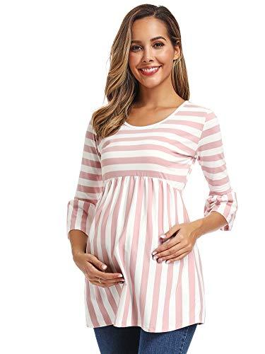 Love2Mi Maglia da donna in gravidanza con maniche a 3/4, a righe, per la mamma Rosa a righe L