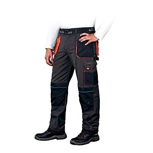 Leber & Hollman LH-FMN-T_SBP50 - Pantaloni tecnici da lavoro, sagomati, taglia 50, colore: Blu acciaio/Nero/Arancione