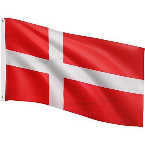 FLAGMASTER Bandiera Flag 120x80 cm, 24 Bandiere Diverse tra Cui Scegliere, Occhielli Metallici per Il Fissaggio, Bandiera Danimarca