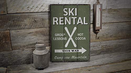St234tyet Cartello per affitti di sci, in legno, decorazione per noleggio sci, qui è sci noleggio, decorazione in legno con scritta rustica in legno