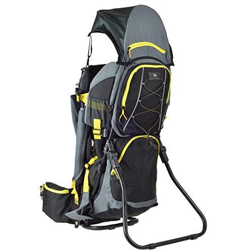 DROMADER Zaino-porta-bambini Quokka | Peso massimo del bambino 22 kg | Sistema portante 3D Opti-fit | Specchietto laterale retrovisore | Tettino parasole e cappuccio parapioggia | nero e giallo