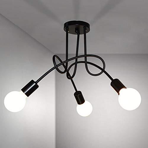 DAXGD Plafoniera moderna, lampade da soffitto in ferro vintage E27, lampadario a LED a 3 luci per soggiorno cucina ristorante, Diametro: 55 cm