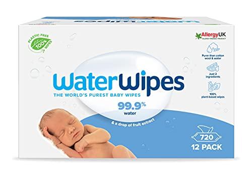 WaterWipes Salviette Umidificate, Salviette Neonato per Pelli Delicate, 99.9% di Acqua Purificata, Biodegradabile, 60 Unità (Confezione da 12)