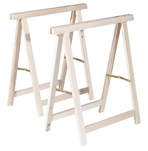 VERDELOOK Coppia cavalletti pieghevoli in legno 75x75cm fai da te