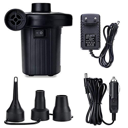 ZStarlite - Pompa ad aria elettrica, portatile, per materassi gonfiabili / deflettore per piscine, barche, giocattoli gonfiabili o campeggio, con 3 accessori, 240 V AC / 12 V DC