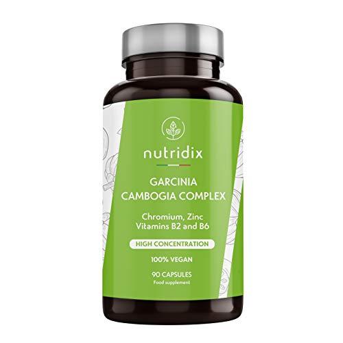 Garcinia Cambogia 2.000mg per dose - Bruciagrassi e sopprime l'appetito con il 60% di HCA - Potente termogenico con cromo, vitamine e zinco - 100% vegetale 90 capsule Nutridix