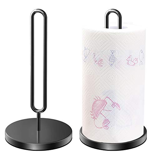 DDF iohEF - Portarotolo da cucina, in acciaio INOX (verticale) con base pesata, per piani di lavoro della cucina, tavoli e per il bagno