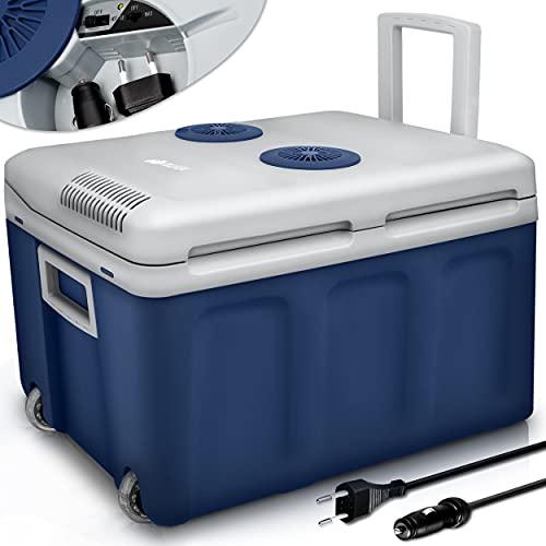 tillvex Frigorifero elettrico Portatile da 40L con rotelle   Mini-frigorifero campeggio da 230 V e 12 V per auto, camion, barca o camper   rinfresca e riscalda   modalità ECO (Blu)