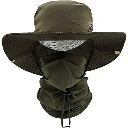ehsbuy Cappello Mimetico Pescatore Tesa Large Safari Traspirante Boonie Hat Scaldacollo Tattica Mimetica Vegetata per Uomo Pesca Cacca Jungle Paintball CS