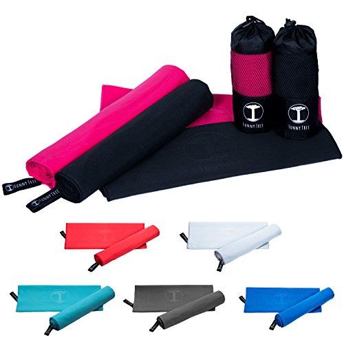 Funny Tree Asciugamani in microfibra (rosa) 70x140cm | asciugatura rapida salva spazio ultra leggero| Asciugamano da viaggio Asciugamano sportivo Yoga Fitness Beach