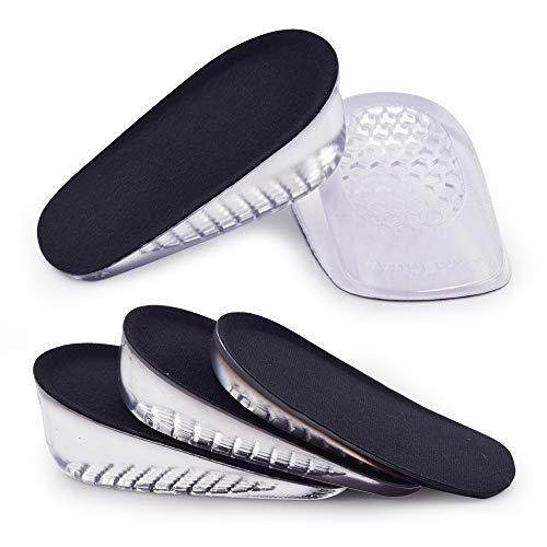SAUDEfoot 1 paio di solette GEL per aumentare l'altezza del tallone, inserti invisibili per sollevare le scarpe, assorbimento degli urti, altezza 1 cm 2 cm 3 cm (S per le donne, altezza: 3 cm, nero)