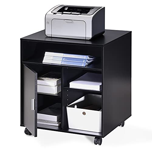 FITUEYES Supporto per Stampante Legno Nero con Ruote Scrivania Lato Mobile 3 Aperto 2 Chiuso di Stoccaggio Armadio per Ufficio 60x50x66,4cm