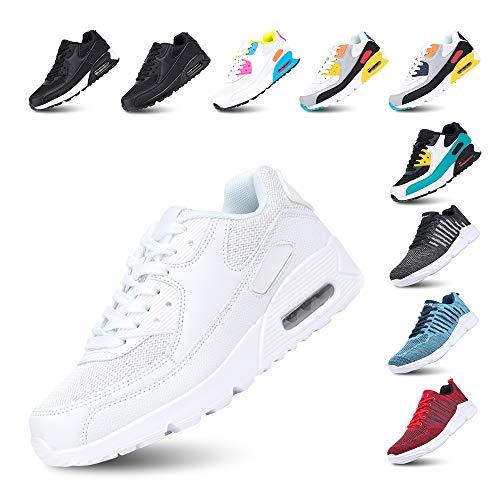 Scarpe Running Uomo Donna Ginnastica Sneaker Leggere Traspirante Outdoor Sportive Calzature da Corsa Pallavolo Tennis Bianco 38