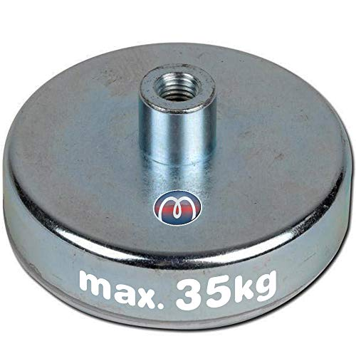 Magneti con base in acciaio Ø 10mm - Ø 125mm gambo-foro-filettato ferrite - Ferrite Magneti Pot utilizzano magneti in ferrite per Magneti con base in acciaio con gambo-foro-filettatodare un buon livello di tenuta ad un prezzo economico, Grandezzas:Ø 63mm   M8   35kg froza