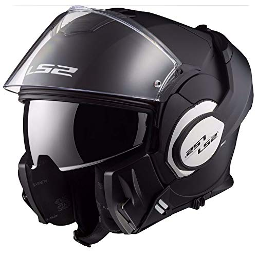 LS2, casco moto modulare VALIANT nero opaco, L