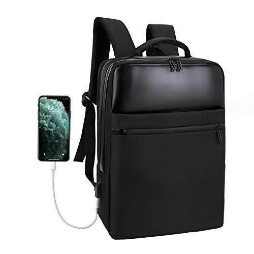 Xnuoyo Laptop Zaino Antifurto, 15,6 Pollici Laptop Impermeabile Borsa da Scuola Portatile con Porta USB di Ricarica Interfaccia Cuffie Zaino da Viaggio per Il Viaggio per Uomini Donne(Nero)
