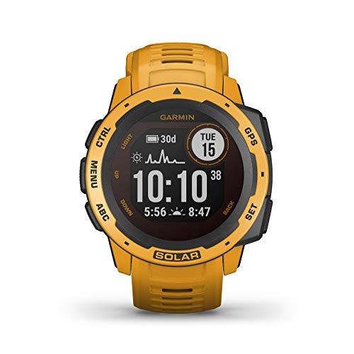 Garmin Instinct Solar, Sunburst - Smartwatch Gps Ultra-Resistente con Ricarica Solare, Cardio, Pulseox, App Multisport