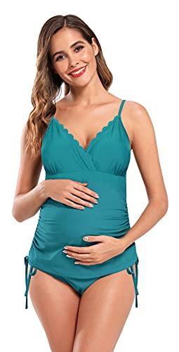SHEKINI Premaman Costume da Bagno Donna Due Pezzi maternità Elegante Bordo Smerlato Design Controllo Addominale Regolabile Bikini Incinta Tankini Due Pezzi Triangolo Bikini Fondo (XL, Verde Scuro)